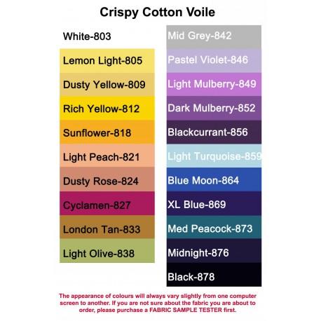 100% Crispy Cotton Voile,(4x5cm sample colour testers & per metre purchasing)